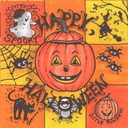HAPPY HALOWEEN オレンジ ハロウィン 黒猫とかぼちゃ 1枚 バラ売り 33cm ペーパーナプキン 紙ナプキン デコパージュ Ambiente