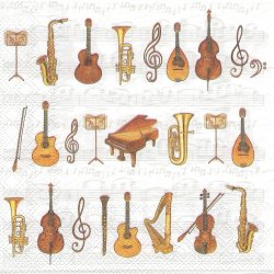ORCHESTRA オーケストラの楽器 1枚 バラ売り 33cm ペーパーナプキン 紙ナプキン デコパージュ Ambiente