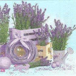 Lavender Indoors鉢植えのラベンダー 水色 1枚 バラ売り 33cm ペーパーナプキン 紙ナプキン デコパージュ Maki