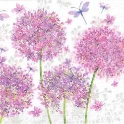 Aquarell Dandelion ポンポンボールの紫の花 たんぽぽ Nigel Quiney 1枚 バラ売り 33cm ペーパーナプキン 紙ナプキン デコパージュ ppd