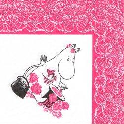 北欧 廃盤 レア柄 ムーミン ノンノン お花育て レース枠 ピンク 1枚 バラ売り 33cm ペーパーナプキン デコパージュ用 紙ナプキン MOOMIN