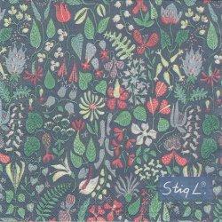 北欧 スティグ・リンドベリ Herbarium ブラック ハーバリウム グスタフスベリ 1枚 バラ売り 33cm ペーパーナプキン Stig Lindberg optodesign