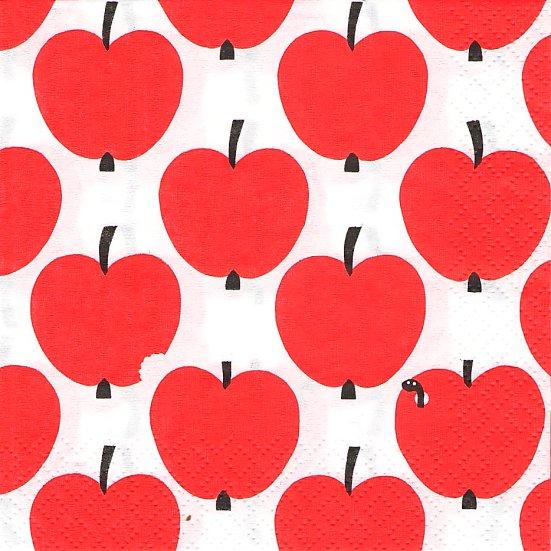 24cm フィンレイソン Finlayson 赤いリンゴ オンプー Omppu 1枚 2枚重ね デコパージュ marimekko 紙ナプキン バラ売り