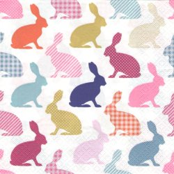 Bunny Pattern Retoro バニーパターン レトロ うさぎ 兎 イースターラビット シルエット 1枚 バラ売り 33cm ペーパーナプキン デコパージュ Daisy