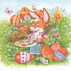<img class='new_mark_img1' src='https://img.shop-pro.jp/img/new/icons55.gif' style='border:none;display:inline;margin:0px;padding:0px;width:auto;' />Rabbit Painter 大きな卵に色付けする茶毛のうさぎ バニー イースターラビット 兎 1枚 バラ売り 33cm ペーパーナプキン デコパージュ Daisy