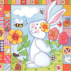 <img class='new_mark_img1' src='https://img.shop-pro.jp/img/new/icons26.gif' style='border:none;display:inline;margin:0px;padding:0px;width:auto;' />Patchwork Hare パッチワーク・ラビット 兎 うさぎ イースターバニー 1枚 バラ売り 33cm ペーパーナプキン デコパージュ Maki