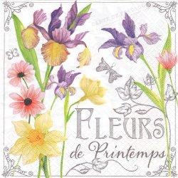 Fleurs de Printemps お花のラベル アイリス 1枚 バラ売り 33cm ペーパーナプキン デコパージュ 紙ナプキン ti-flair