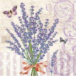 Antoinette ラベンダーの花束 ピンクリボン アントワネット 1枚 バラ売り 33cm ペーパーナプキン デコパージュ 紙ナプキン Nouveau