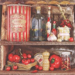 Rustique ラスティック キッチンの棚 トマト 1枚 バラ売り 33cm ペーパーナプキン デコパージュ 紙ナプキン Nouveau