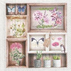 Herbarium フレーム柄 ハーバリウム 紫陽花 蝶 1枚 バラ売り 33cm ペーパーナプキン デコパージュ 紙ナプキン Nouveau