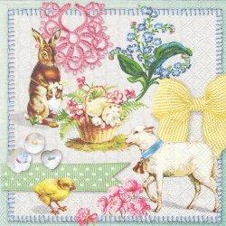 EASTER COLLAGE イースター・コラージュ 兎 うさぎ 羊 わすれな草 1枚 バラ売り 33cm ペーパーナプキン デコパージュ 紙ナプキン Ambiente