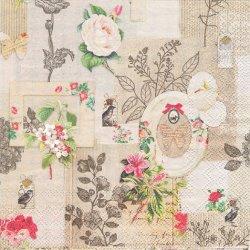 FRAMES AND FLOWERS フレームズ&フラワー コラージュ柄 ヴィンテージ 1枚 バラ売り 33cm ペーパーナプキン デコパージュ 紙ナプキン Ambiente