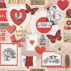 LOVE TICKET コラージュ柄 ラブ・チケット 赤 ヴィンテージ 1枚 バラ売り 33cm ペーパーナプキン デコパージュ 紙ナプキン Ambiente