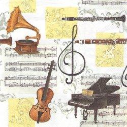 MUSICA CLASSICA コラージュ柄 クラシック 音楽 ヴィンテージ 1枚 バラ売り 33cm ペーパーナプキン デコパージュ 紙ナプキン Ihr