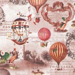 Vintage Ballons コラージュ柄 ヴィンテージ バルーン 気球 1枚 バラ売り 33cm ペーパーナプキン デコパージュ 紙ナプキン HOME FASHION