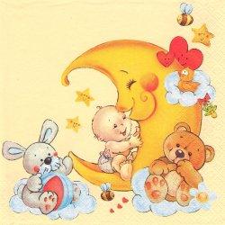 Child's Dream サークル柄 夢見る赤ちゃん ベビーズ・ドリーム 兎 テディベア 月 1枚 バラ売り 33cm ペーパーナプキン デコパージュ 紙ナプキン Maki