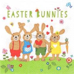 廃盤 Easter Bunnies イースターバニー お耳を結んだうさぎ 兎 ラビット Caroria Pabst 1枚 バラ売り 33cm ペーパーナプキン デコパージュ Paper+Design