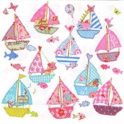 廃盤 Sail boats セイル・ボート パステルカラーのヨット 1枚 バラ売り 33cm ペーパーナプキン デコパージュ 紙ナプキン Paper+Design