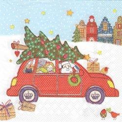 廃番 クリスマス・サンタ・カー 1枚 バラ売り 33cm ペーパーナプキン デコパージュ 紙ナプキン stewo