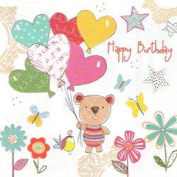Lovely Happy Birthday ラブリー・ハッピーバースデー くま テディベア 1枚 バラ売り 33cm ペーパーナプキン デコパージュ 紙ナプキン Daisy