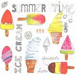 Ice Cream Time アイスクリーム・タイム お菓子 1枚 バラ売り 33cm ペーパーナプキン Daisy