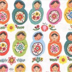 HAPPY MATROSCHKAS ハッピー・マトリョーシカ カラフル 1枚 バラ売り 33cm ペーパーナプキン デコパージュ 紙ナプキン Ihr