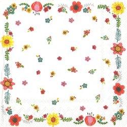 HAPPY DAY ハッピーデー 花のフレーム 1枚 バラ売り 33cm ペーパーナプキン デコパージュ 紙ナプキン Ihr