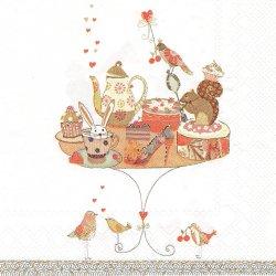 廃盤 BIRTHDAY TABLE ほのぼの可愛い兎とりすと小鳥のバースデーテーブル Turnowsky Art 1枚 バラ売り 33cm ペーパーナプキン デコパージュ 紙ナプキン Ihr