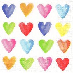 Aquarell Hearts ミックス・カラー ハート 水彩のハート 1枚 バラ売り 33cm ペーパーナプキン デコパージュ 紙ナプキン ppd