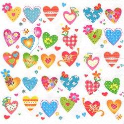 廃盤 Colourful hearts カラフル・ハート 楽しいハートたち 1枚 バラ売り 33cm ペーパーナプキン デコパージュ 紙ナプキン Paper+Design