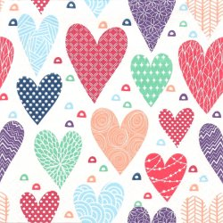Patterned Hearts 模様ハート 1枚 バラ売り 33cm ペーパーナプキン デコパージュ 紙ナプキン Daisy