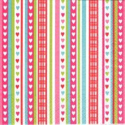 廃番 Lovely Stripes ラブリー・ハート・ストライプ 1枚 バラ売り 33cm ペーパーナプキン デコパージュ 紙ナプキン HOME FASHION