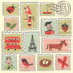 スタンプ 切手 1枚 バラ売り 33cm ペーパーナプキン デコパージュ 紙ナプキン Aimez le style