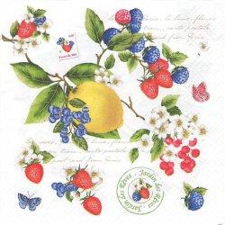 SECRET GARDEN シークレット・ガーデン フルーツ レモン ベリー 苺 1枚 ばら売り 33cm ペーパーナプキン Easy Life