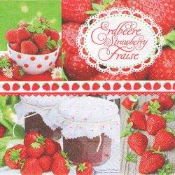 Strawberrytime 写真 ストロベリー・タイム 苺 1枚 バラ売り 33cm ペーパーナプキン デコパージュ 紙ナプキン Paper+Design