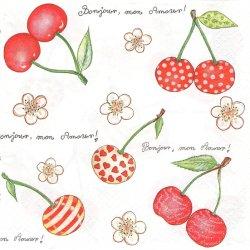 Cherry Pattern チェリー さくらんぼ イラスト 1枚 ばら売り 33cm ペーパーナプキン デコパージュ 紙ナプキン Daisy