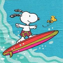 25cm スヌーピー SUMMER サーフィン 1枚 デコパージュ ペーパーナプキン バラ売り 紙ナプキン