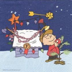 25cm スヌーピー ライナスのクリスマス 1枚 デコパージュ ペーパーナプキン バラ売り 紙ナプキン