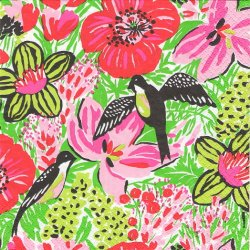 24cm フィンレイソン Finlayson 楽園の鳥 Paratiisi グリーンxピンク 1枚 デコパージュ ペーパーナプキン バラ売り 北欧 フィンランド 紙ナプキン