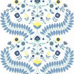 24cm フィンレイソン Finlayson 花と葉っぱの紋様 Kirmaus ブルー 1枚 デコパージュ ペーパーナプキン バラ売り 北欧 フィンランド 紙ナプキン