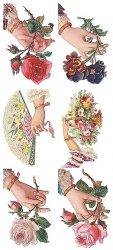 ファンと手 お花と手のステッカー 1シート ヴィクトリアン シール ラベル ビクトリアン Victorian ラッピング