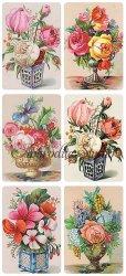 花瓶の花のステッカー カード 1シート ヴィクトリアン シール ラベル ビクトリアン Victorian ラッピング