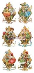 少年少女 花の妖精カードのステッカー 1シート ヴィクトリアン シール ラベル ビクトリアン Victorian ラッピング