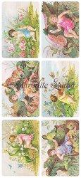 花と天使のカードのステッカー エンジェル 1シート ヴィクトリアン シール ラベル ビクトリアン Victorian ラッピング