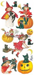 ハロウィン 少女の魔女と黒猫のステッカー 1シート ヴィクトリアン シール ラベル ビクトリアン Victorian ラッピング