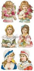 少女たちのステッカー エンジェル 1シート ヴィクトリアン シール ラベル ビクトリアン Victorian ラッピング
