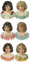 黒髪と黒髪の少女たちのステッカー エンジェル 1シート ヴィクトリアン シール ラベル ビクトリアン Victorian ラッピング