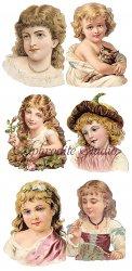 栗毛の少女たちのステッカー エンジェル 1シート ヴィクトリアン シール ラベル ビクトリアン Victorian ラッピング