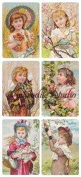 木や花の中の少女のステッカー エンジェル 1シート ヴィクトリアン シール ラベル ビクトリアン Victorian ラッピング