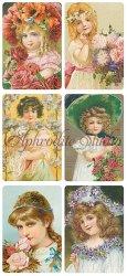 花を抱く少女のステッカー エンジェル 1シート ヴィクトリアン シール ラベル ビクトリアン Victorian ラッピング